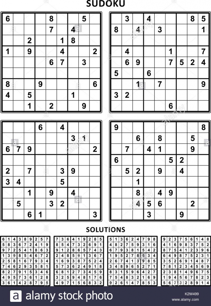 Four Sudoku Puzzles Of Comfortable (Easy, Yet Not Very Easy) Level | Printable Sudoku With Solution