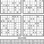 Four Sudoku Puzzles Of Comfortable (Easy, Yet Not Very Easy) Level | Sudoku Printable A4