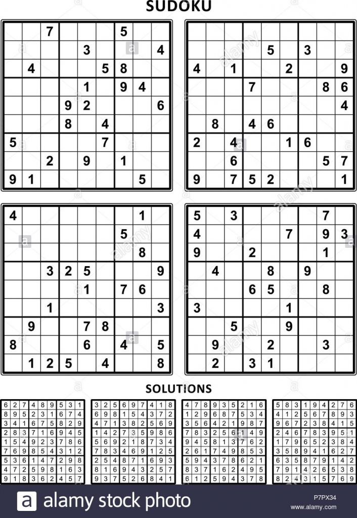 Four Sudoku Puzzles Of Comfortable Level, On A4 Or Letter Sized Page | Printable Letter Sudoku Puzzles