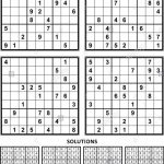 Four Sudoku Puzzles Of Comfortable Level, On A4 Or Letter Sized Page | Printable Sudoku Large Print