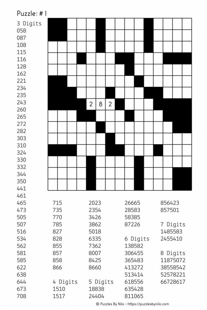 Free Downloadable Number Fill In Puzzle - # 001 - Get Yours Now | Word Sudoku Printable Download
