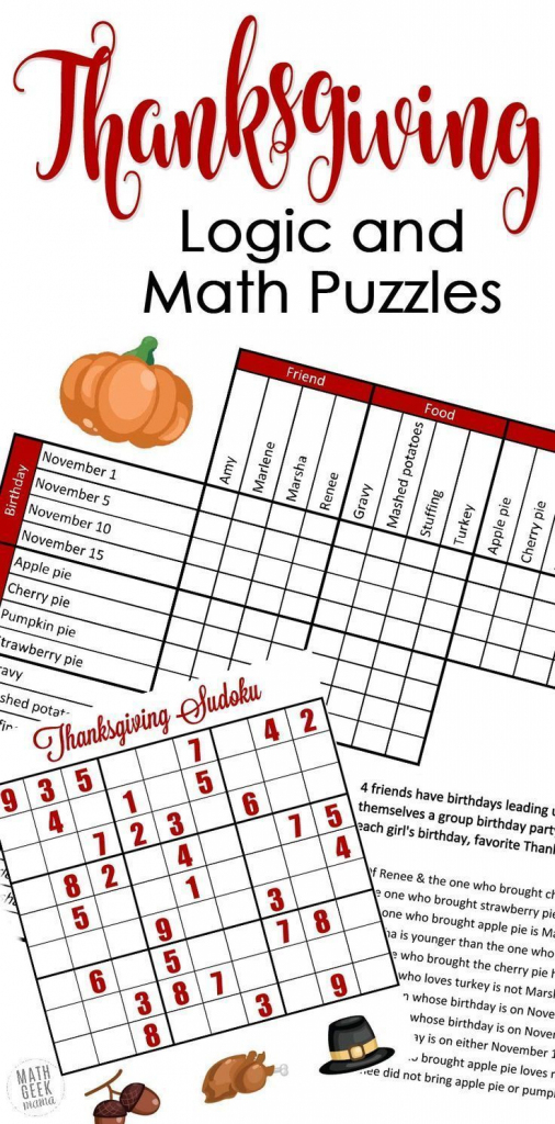Free} Fun Thanksgiving Math Puzzles For Older Kids | Printables For | Printable Thanksgiving Sudoku