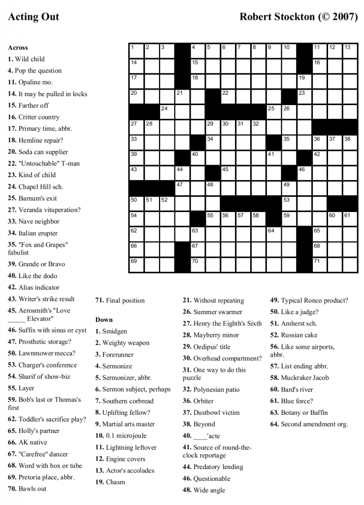 Free Printable Cards: Free Printable Crossword Puzzles | Printable | Free Printable Sudoku And Crossword Puzzles