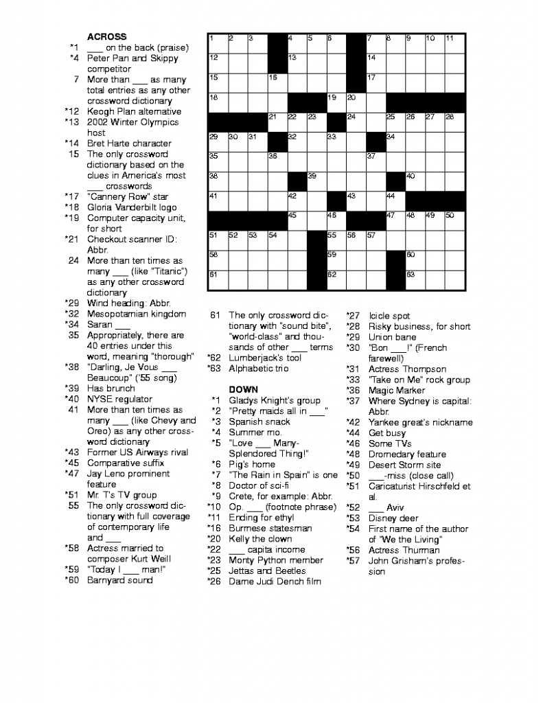 Free Printable Crossword Puzzles For Adults | Puzzles-Word Searches | Printable Sudoku And Word Search Puzzles