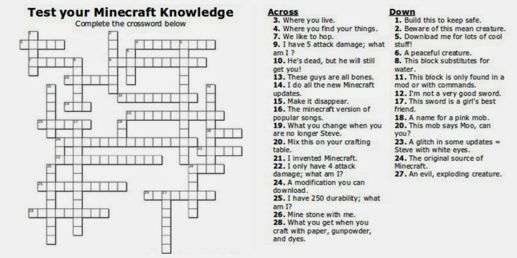 Free Printable Minecraft Crossword Search: Test Your Minecraft   Sudoku Printable Tes