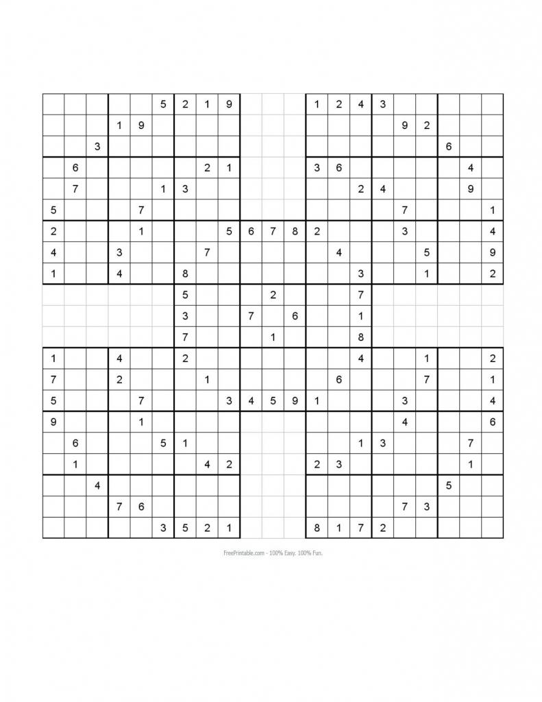 Free Printable Samurai Sudoku Puzzles | Spellen - Sudoku Puzzles | Printable Samurai Sudoku Medium