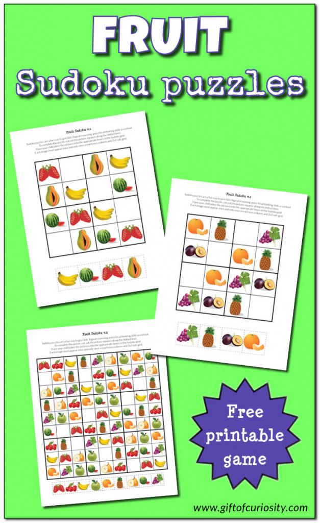 Fruit Sudoku Puzzles {Free Printables} - Gift Of Curiosity | Free Printable Variety Sudoku