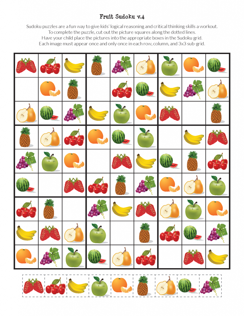 Fruit Sudoku Puzzles {Free Printables} - Gift Of Curiosity | Printable Sudoku For Kindergarten
