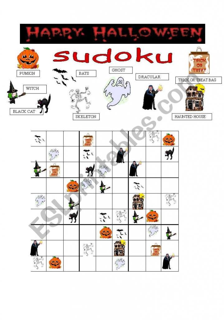 Halloween Sudoku - Esl Worksheetgreek Professor   Printable Halloween Sudoku