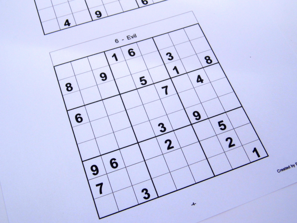 Hard Printable Sudoku Puzzles 6 Per Page – Book 1 – Free Sudoku Puzzles | Free Printable Sudoku Evil