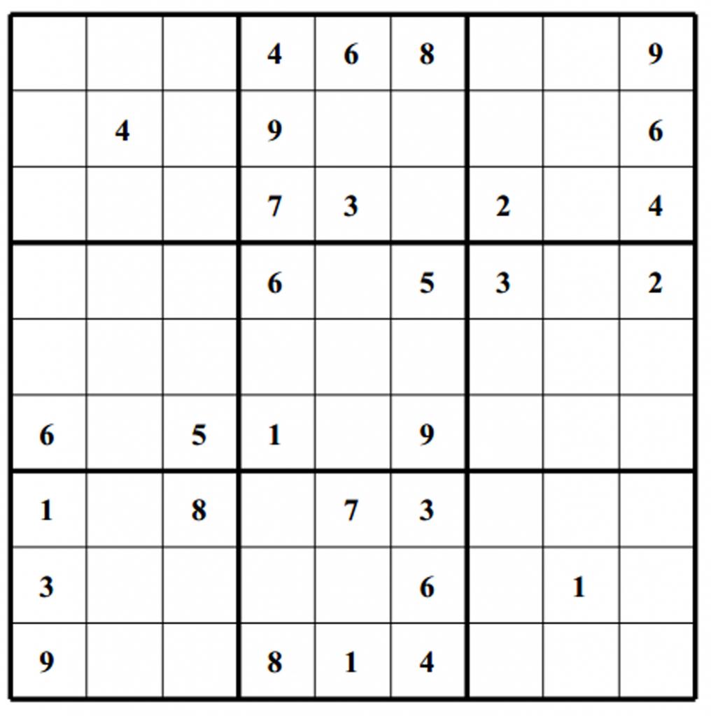Hard Puzzle | Free Sudoku Puzzles | Printable Sudoku Generator
