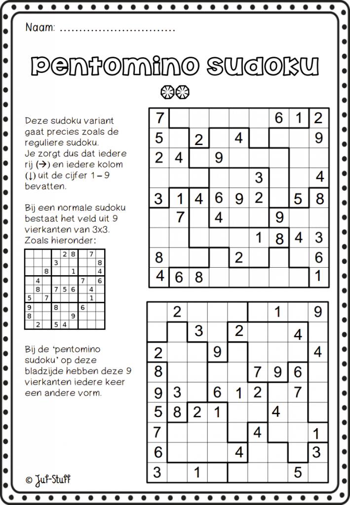 Juf-Stuff Pentomino Sudoku 2.pdf | Pentominoes | Classroom Games | Sudoku Printable 5Th Grade
