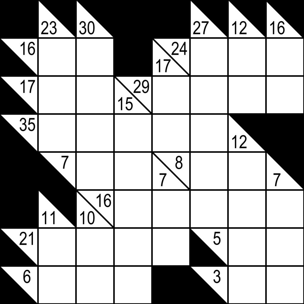 Kakuro - Wikipedia | Free Printable Sudoku Kakuro