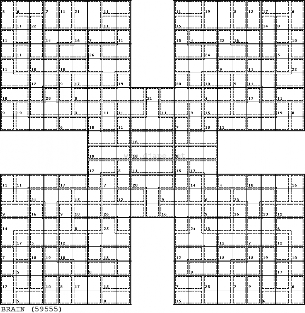 Killer Samurai Sudoku | Puzzles | Samurai, Puzzle, Challenging Puzzles | Printable Killer Sudoku