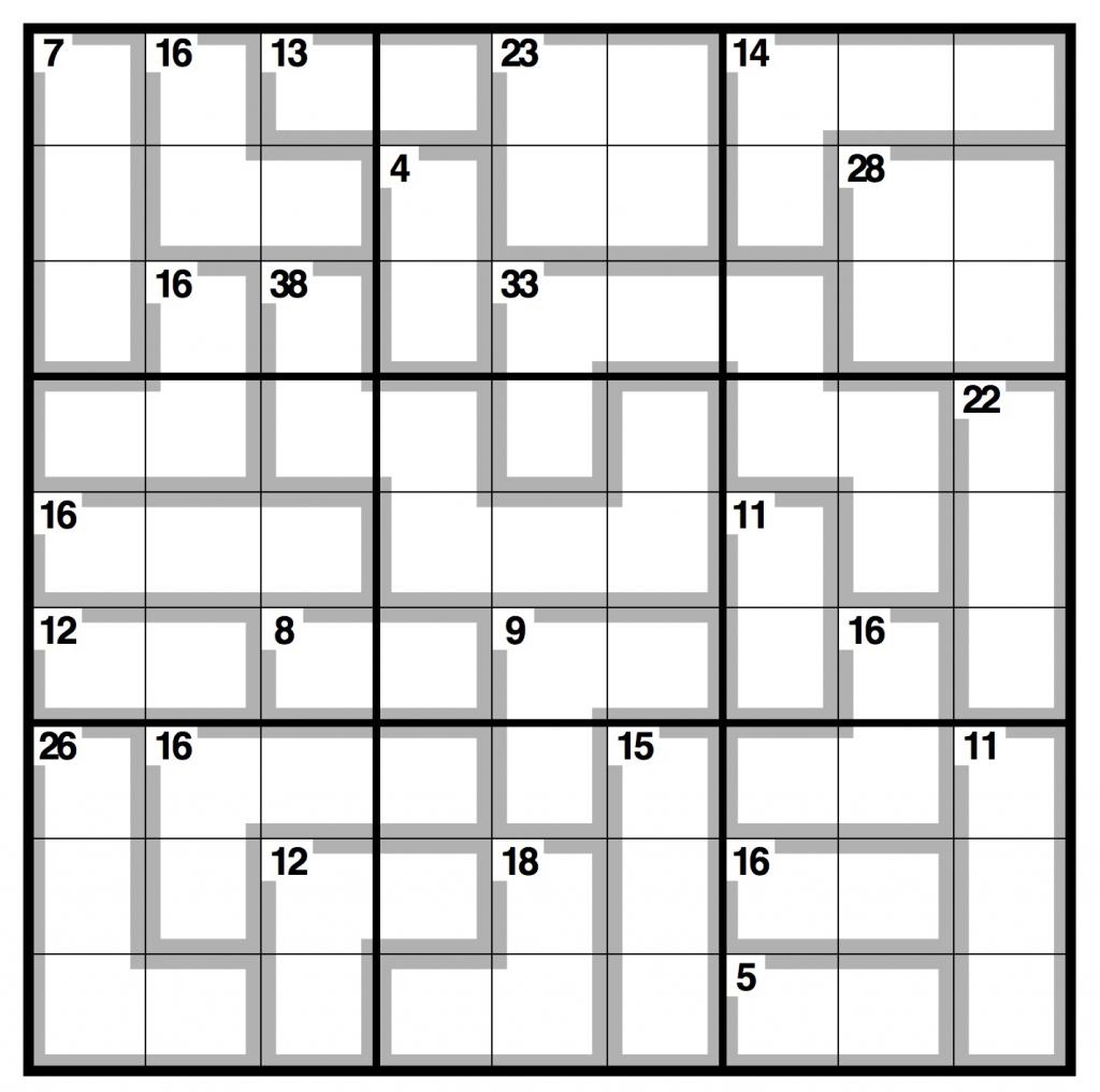 Killer Sudoku - Wikipedia - Killer Sudoku Free Printable | Free | Printable Killer Sudoku Easy