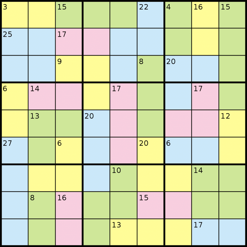 Killer Sudoku - Wikipedia | Printable Sudoku Sum