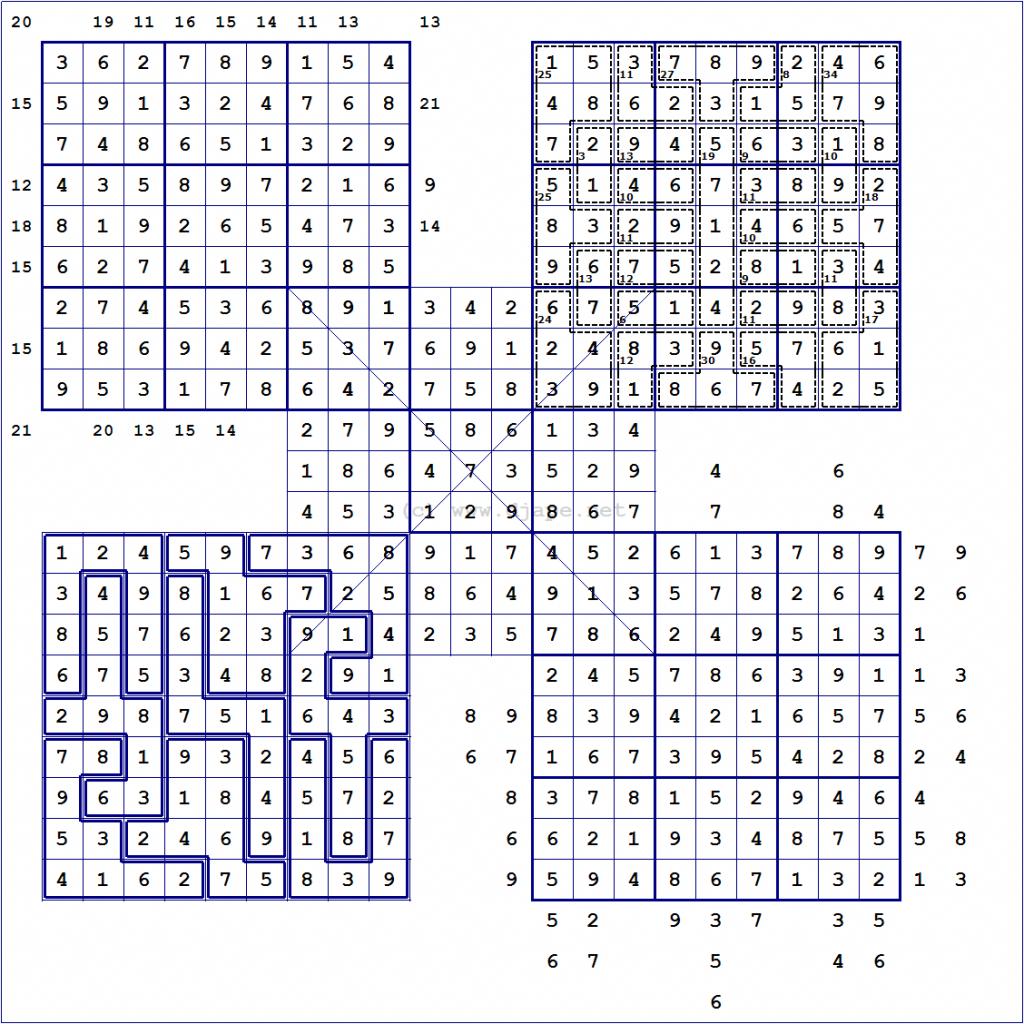 Loco Sudoku | Printable Samurai Sudoku With Answers