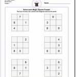 Magic Square Puzzles This Page Has 3X3, 4X4 And 5X5 Magic Square | Printable Sudoku Puzzles Easy #4