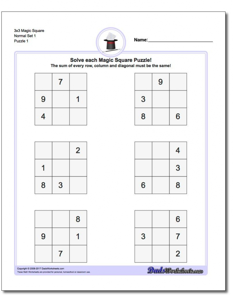 Magic Square Puzzles This Page Has 3X3, 4X4 And 5X5 Magic Square | Sudoku Printable 3X3