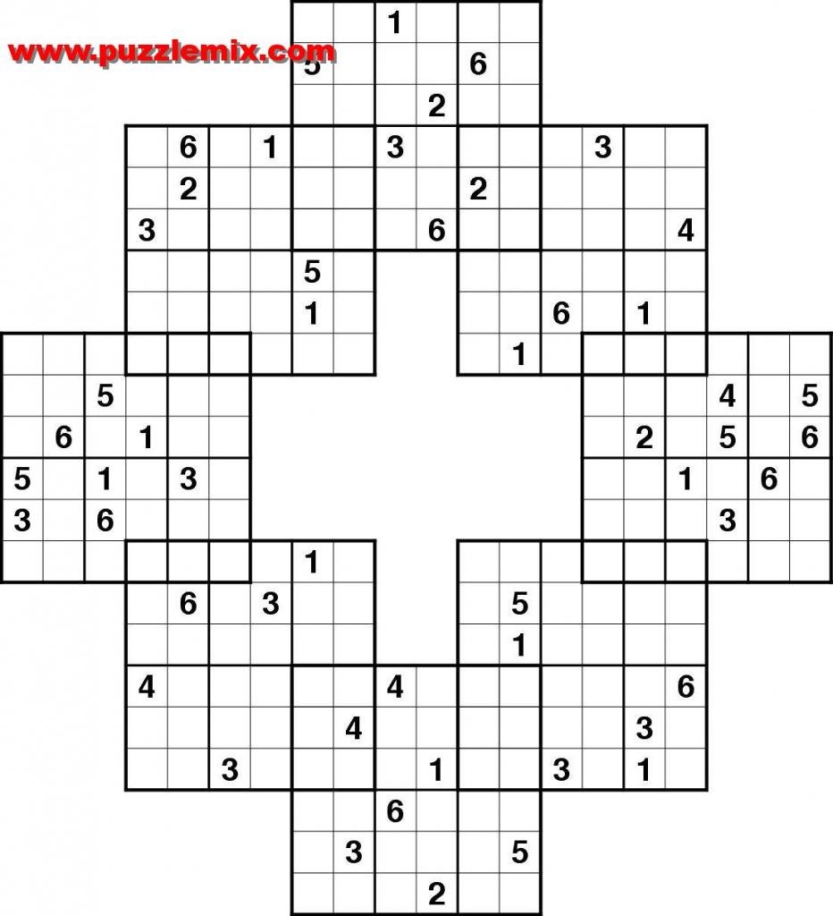 Mega Samurai Sudoku Free Printable | Www.topsimages | Printable Mega Sudoku Puzzles