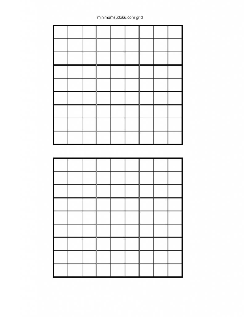 Minimum Sudoku | Printable Sudoku Grids Blank 4 Per Page