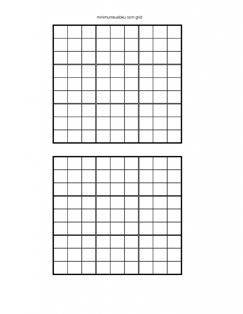 Minimum Sudoku | Printable Sudoku Grids With 2 On A Page