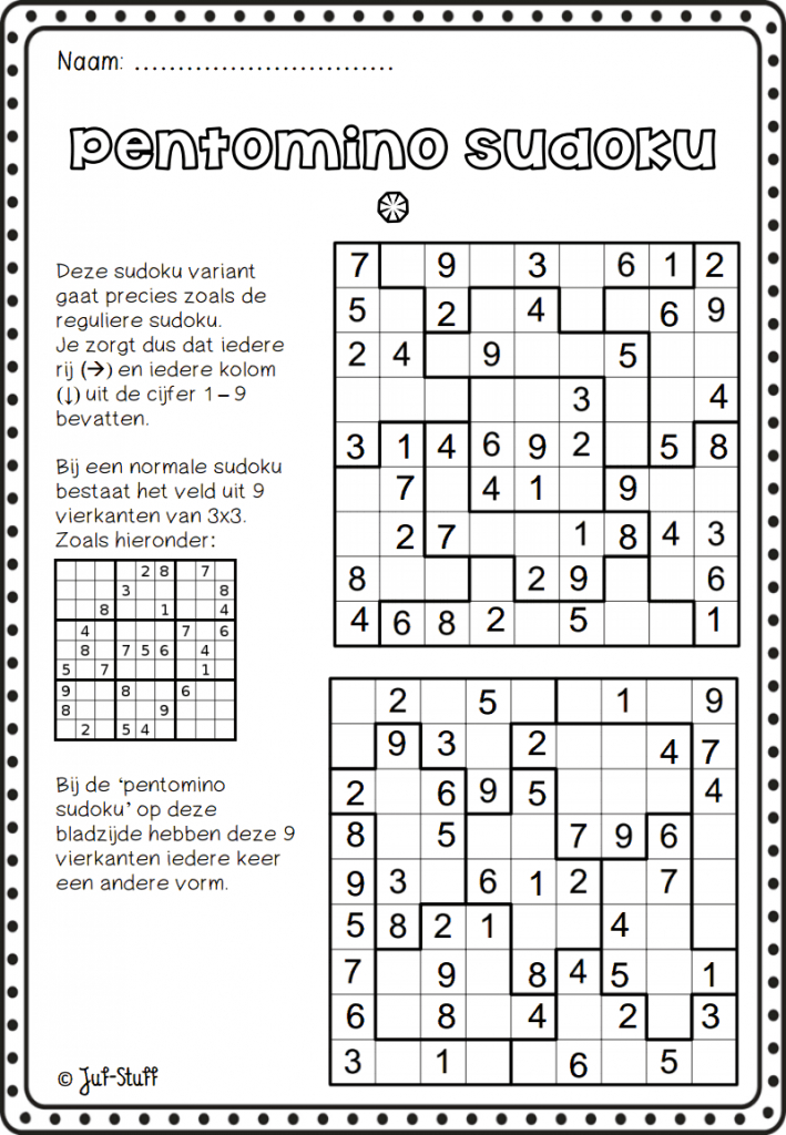 Pentomino Sudoku | Crazy For Suduko | Classroom Games, Flipped | Sudoku Printable Tes