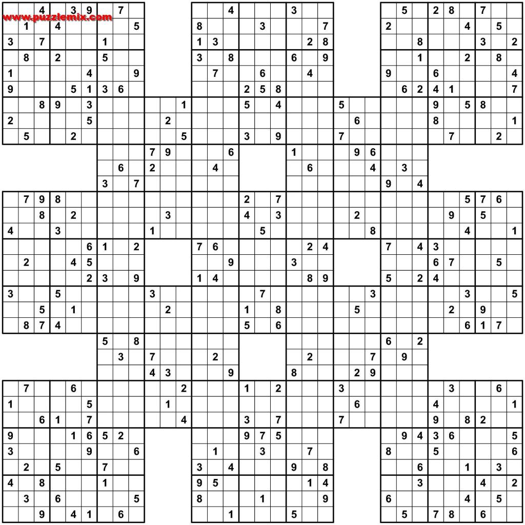 Pin Van Sh R. Op Sudoku | Pinterest - Sudoku Puzzles, Word Search En | Printable Samurai Sudoku X