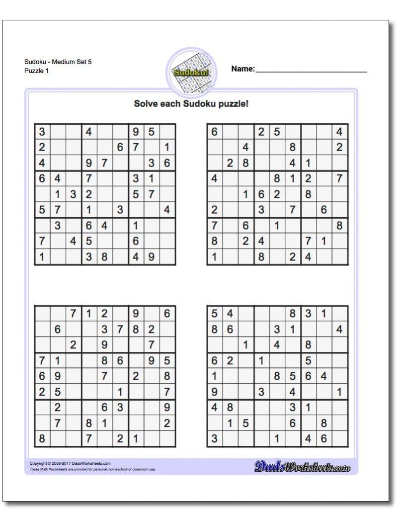 Pindadsworksheets On Math Worksheets | Sudoku Puzzles, Math | Printable Medium Sudoku Sheets