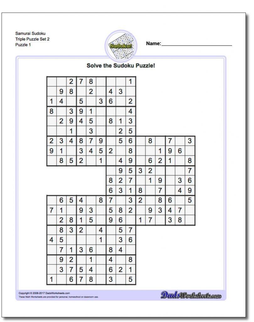 Pindadsworksheets On Math Worksheets | Sudoku Puzzles, Maths | Printable Sudoku Puzzles Samurai
