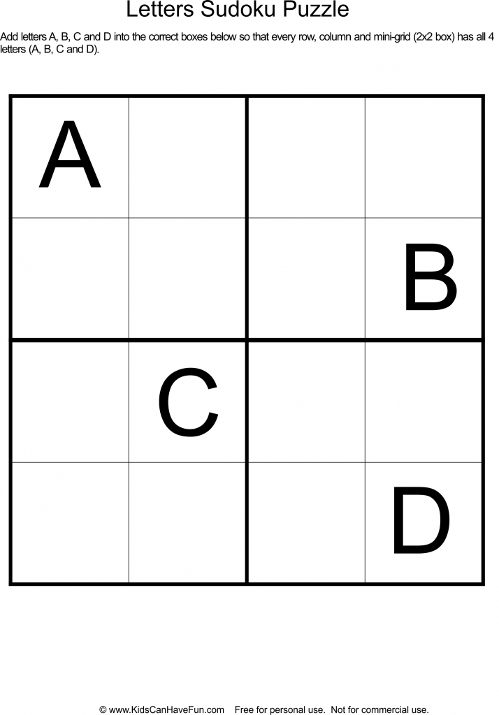 Printable Letter Sudoku Puzzles