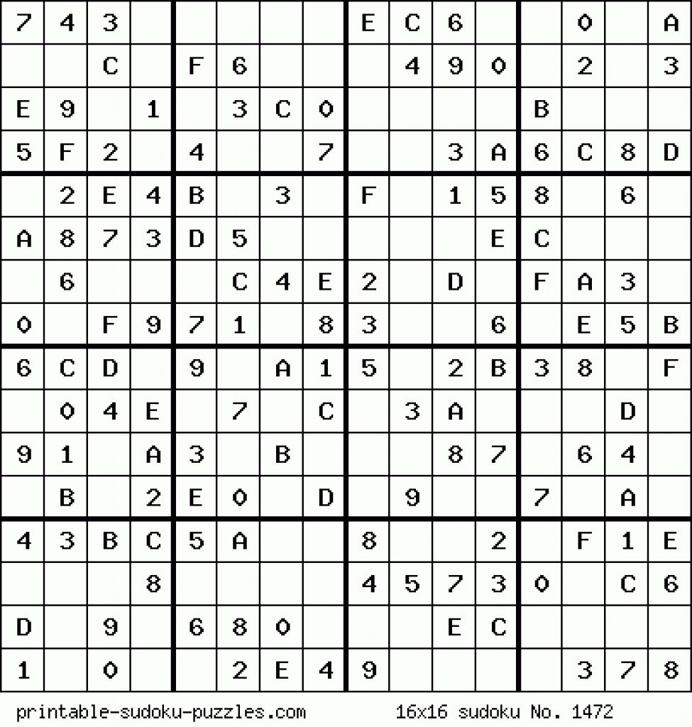 Printable 16X16 Sudoku With Numbers | Www.topsimages | Free Printable Sudoku Challenger Puzzles
