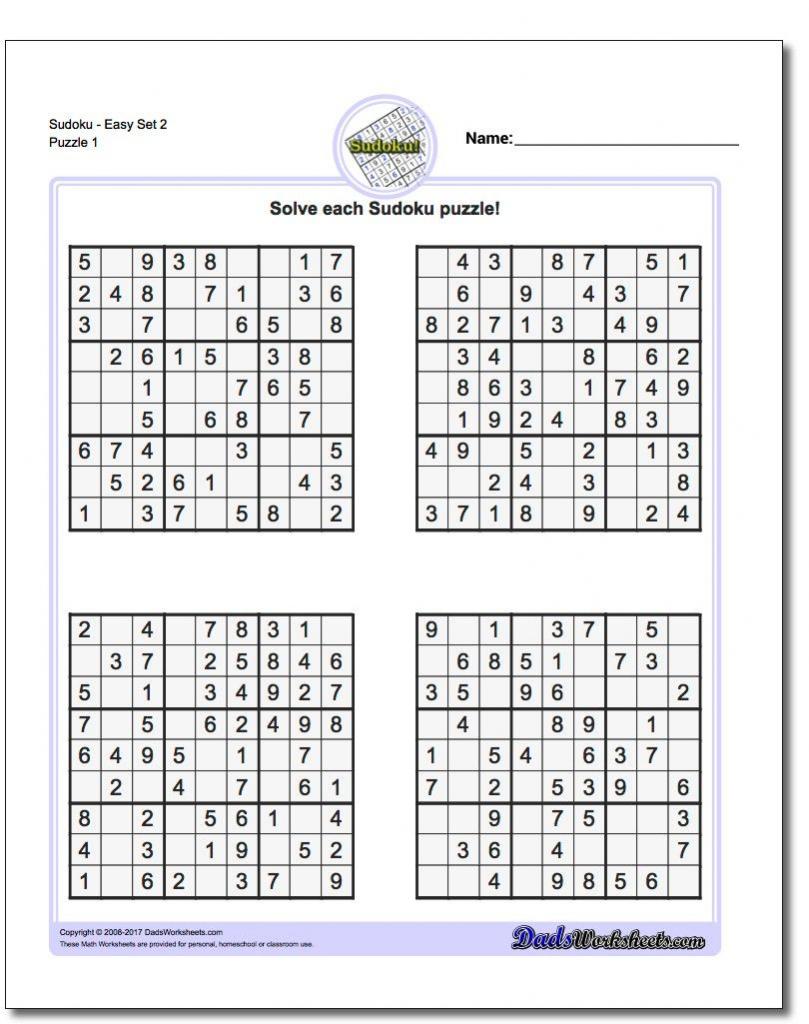 Printable Easy Sudoku   Math Worksheets   Math Worksheets, Free   Printable Mixed Sudoku