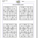 Printable Evil Sudoku Puzzles | Math Worksheets | Sudoku Puzzles | Printable Sudoku Easy 4 Per Page