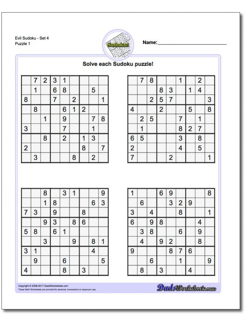 Printable Evil Sudoku Puzzles | Math Worksheets | Sudoku Puzzles | Printable Sudoku Puzzles Difficulty 4