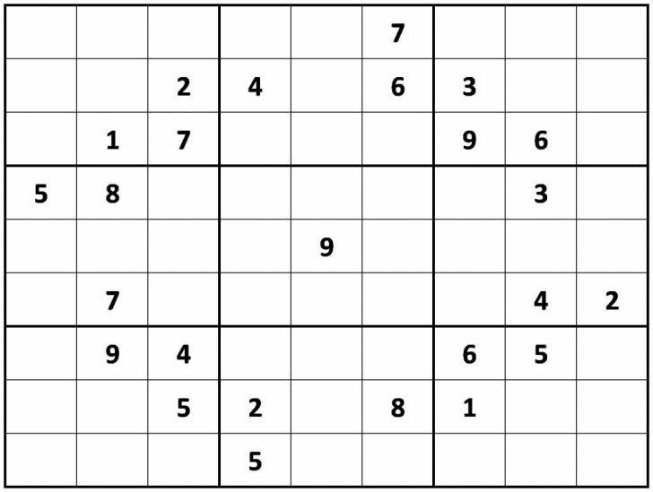 Hard Printable Sudoku