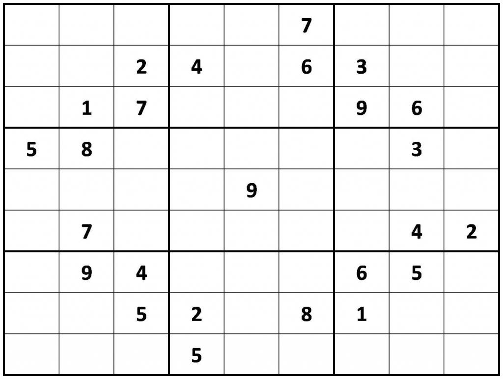 Printable Hard Sudoku | Printable - Difficult Sudoku Puzzles | Printable Giant Sudoku Puzzles