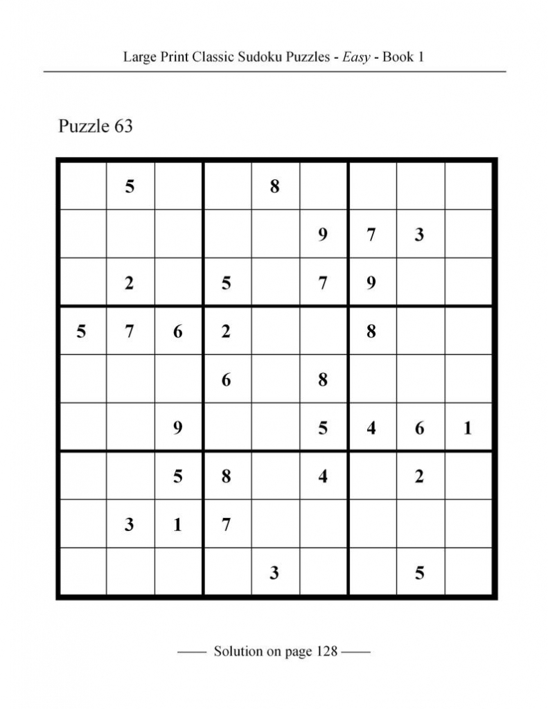 Printable Large Print Classic Sudoku Puzzles 120 Puzzles | Etsy | Printable Sudoku Classic