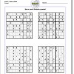 Printable Medium Sudoku Puzzles | Math Worksheets | Sudoku Puzzles | 4 Printable Sudoku Per Page