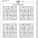Printable Medium Sudoku Puzzles | Math Worksheets | Sudoku Puzzles | 4 Printable Sudoku Per Page