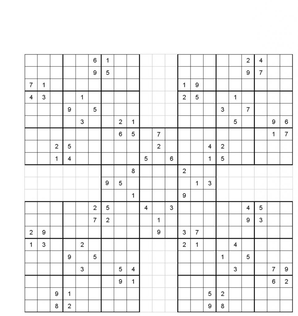 Printable Sudoku | 5 Grid Sudoku Printable