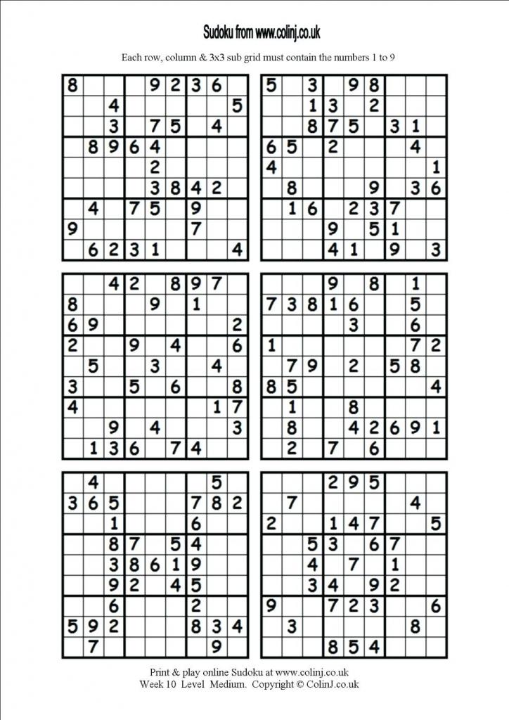 Printable Sudoku 6 Per Page 6 Printable Sudoku 4 Printable Sudoku | Printable Sudoku Easy 6 Per Page