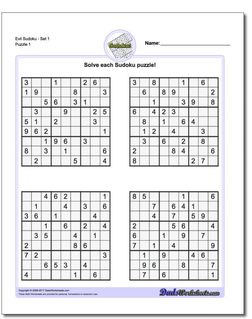 Printable Sudoku - Canas.bergdorfbib.co | Printable Sudoku 8 Per Page