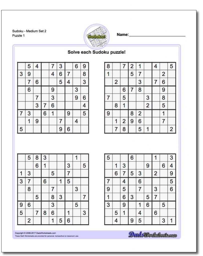 Printable Sudoku - Canas.bergdorfbib.co | Printable Sudoku Medium 6 Per Page