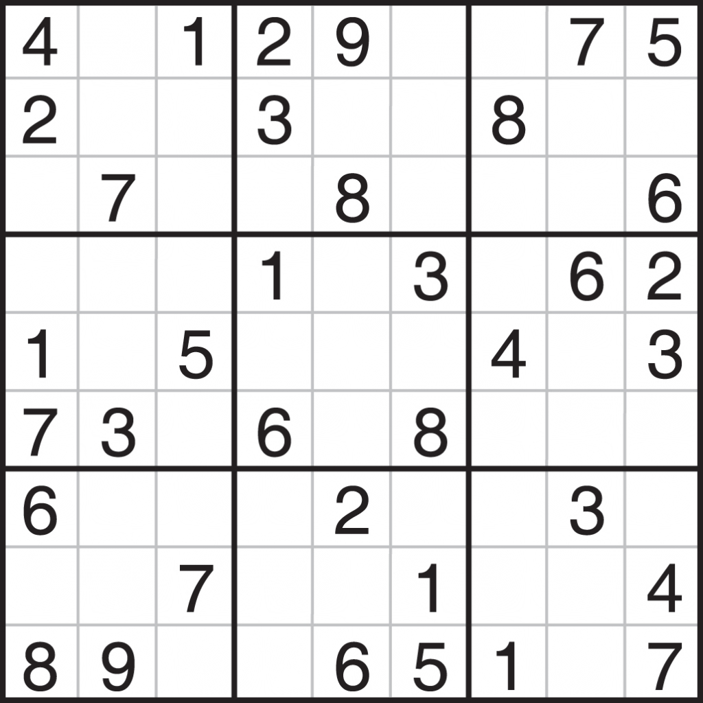 Printable Sudoku - Canas.bergdorfbib.co | Printable Sudoku Medium Difficulty