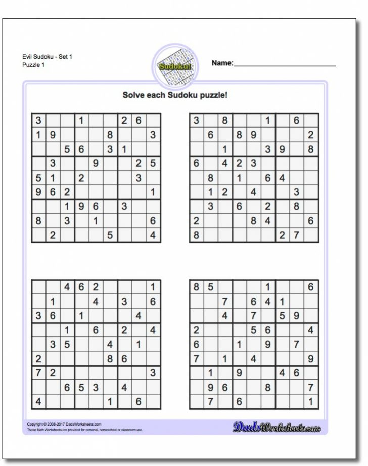 Printable Sudoku Puzzles Difficulty 4
