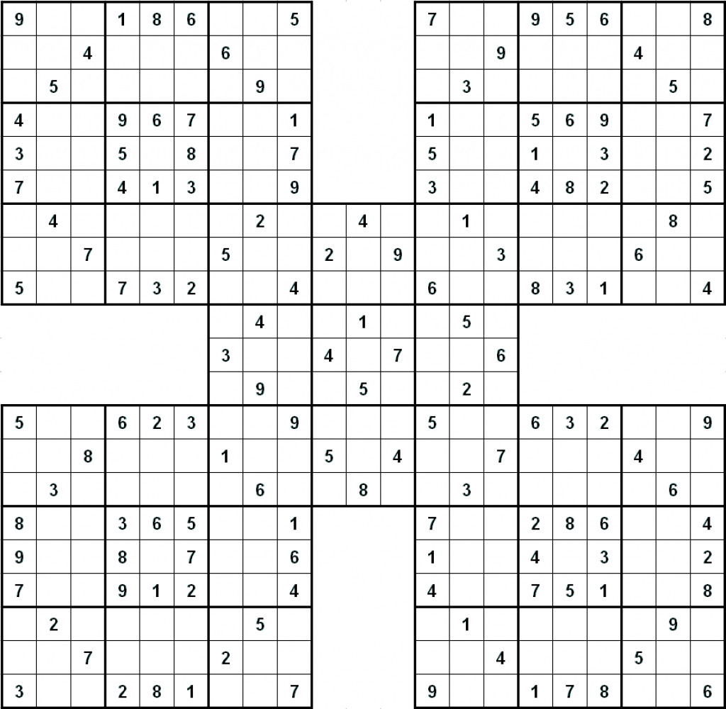 Printable Sudoku | Printable Samurai Sudoku Hard