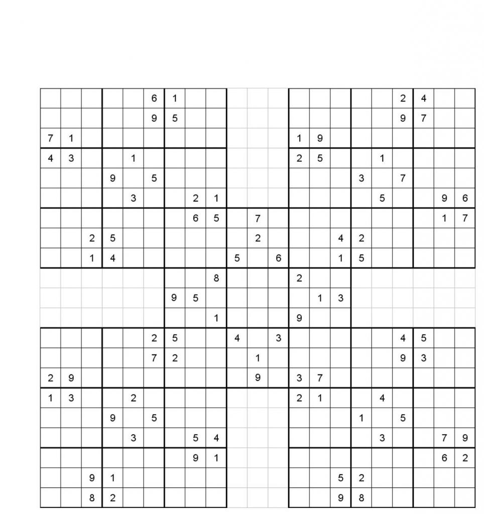 Printable Sudoku | Printable Sudoku Five Squares