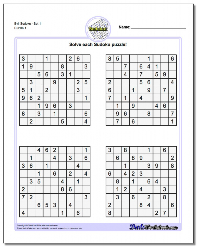 Printable Sudoku Puzzles | Ellipsis | Free Printable Sudoku Evil