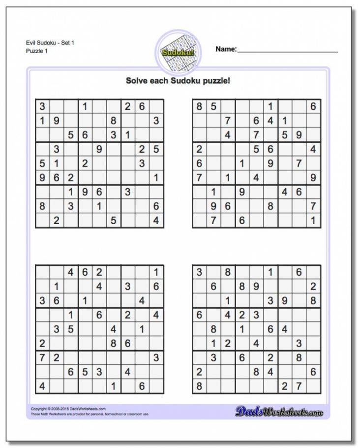 Printable Sudoku Worksheets For Adults